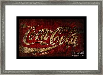 Rustic Coca Cola Sign Framed Print by John Stephens