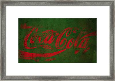 Coca Cola Grunge Red Green Framed Print by John Stephens