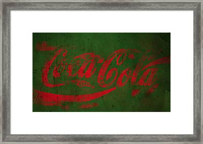 Coca Cola Grunge Red Green Framed Print by John Stephens