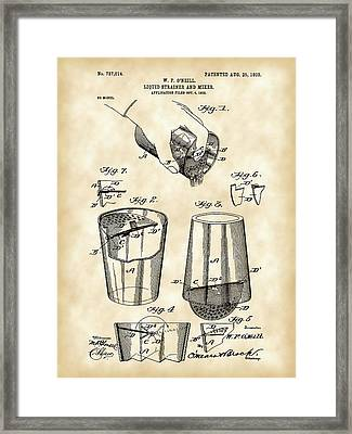 Cocktail Mixer And Strainer Patent 1902 - Vintage Framed Print