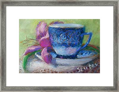 Coffee And Flowers Framed Print by Nancy Stutes