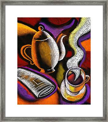 Coffee And News Framed Print by Leon Zernitsky