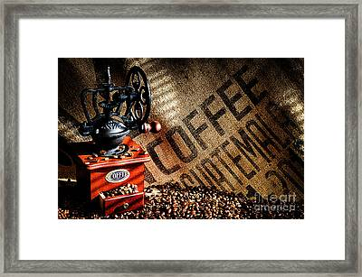 Coffee Beans And Grinder Framed Print
