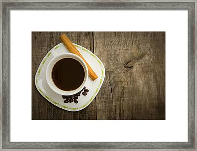 Coffee Cup With Beans And Cinnamon Stick Framed Print