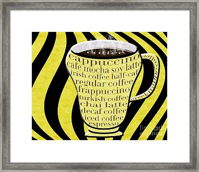 Coffee Cup With Stripes Typography Yellow Framed Print by Andee Design