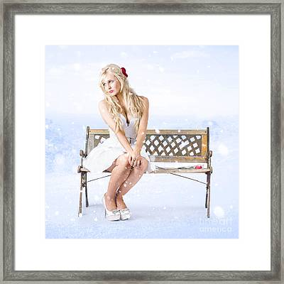 Cold And Lonely Winter Woman Sitting All Alone Framed Print by Jorgo Photography - Wall Art Gallery