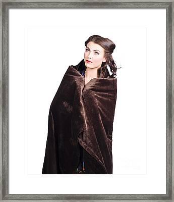 Cold Girl Feeling The Chill Of Winter In Blanket Framed Print