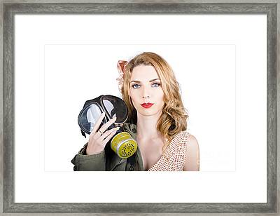 Cold War Pin-up Woman With Gasmask Framed Print by Jorgo Photography - Wall Art Gallery