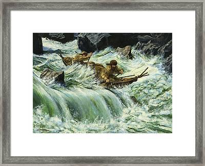 Overcurrent - Frontiersmen In Canoe In Wild Rapids Framed Print