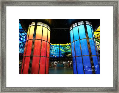 Colorful Glass Work Ceiling And Columns Framed Print by Yali Shi