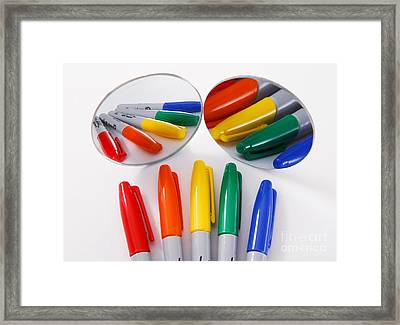Colorful Markers Framed Print by Photo Researchers