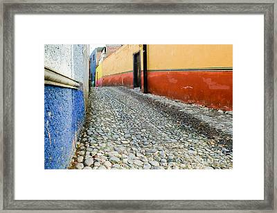 Colorful Mexican Town Framed Print by Oscar Gutierrez