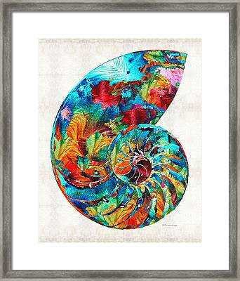 Colorful Nautilus Shell By Sharon Cummings Framed Print by Sharon Cummings