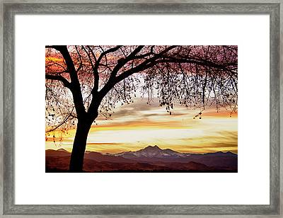 Colorful November Sunset Sky And Longs Peak Framed Print