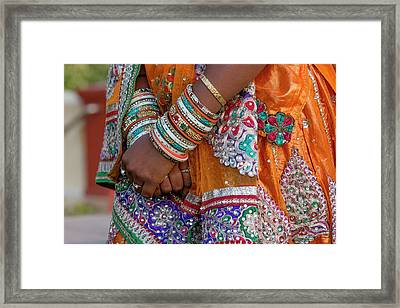 Colorful Wedding Costumes And Sari Framed Print by Tom Norring
