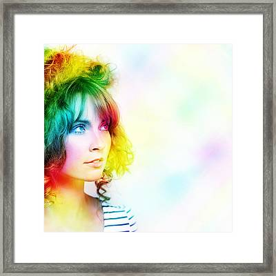 Colorful Woman Watching Colourful Rays Of Light Framed Print by Jorgo Photography - Wall Art Gallery