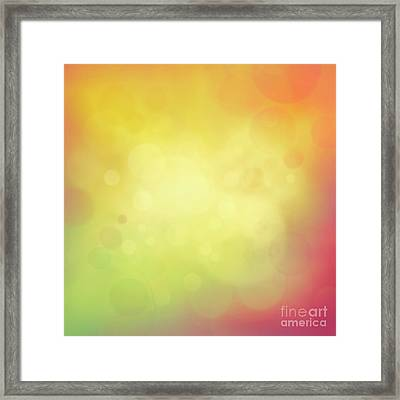 Colorful Yellow Bokeh Background Framed Print by Mythja  Photography
