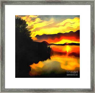 Colors At The Lake Framed Print by Odon Czintos