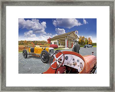 Colors Of Autumn Vintage Standard Oil Station Framed Print