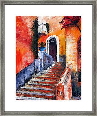 Colors Of Genoa. Palette Knife Oil Painting. No Brush. Framed Print