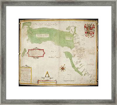 Coloured Map Of An Estate In Lower Lye Framed Print by British Library