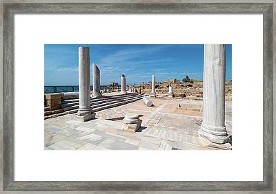 Columns In Archaeological Site Framed Print