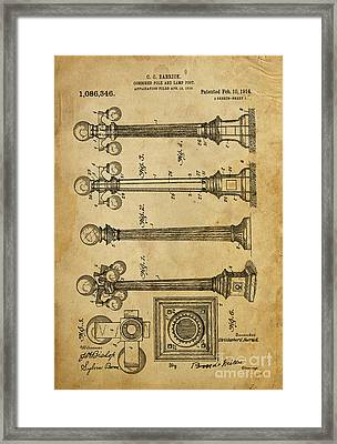 Combined Pole And Lamp Post - 1914 Framed Print by Pablo Franchi