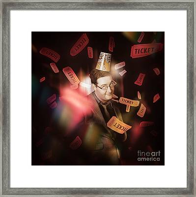 Comedy Entertainment Man On Theater Stage Framed Print
