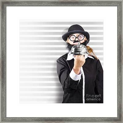 Comic Business Man Holding Big Service Bell Framed Print by Jorgo Photography - Wall Art Gallery