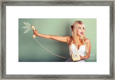 Comic Portrait Of A Blond Pin-up Girl With Phone Framed Print by Jorgo Photography - Wall Art Gallery