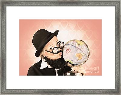 Comical Nerdy Person Kissing The Globe Framed Print