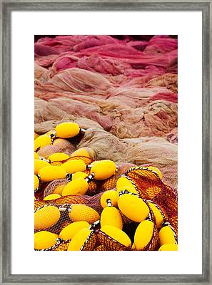 Commercial Fishing Nets With Floats Framed Print by Panoramic Images
