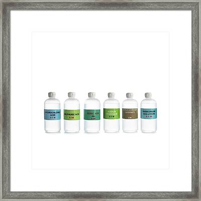 Common Acids And Bases Framed Print by Science Photo Library
