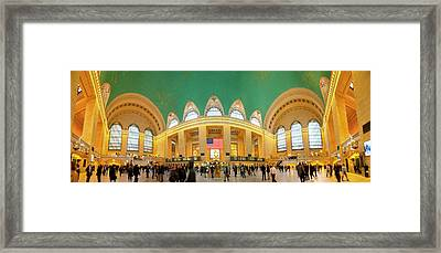 Commuters At A Railroad Station, Grand Framed Print by Panoramic Images