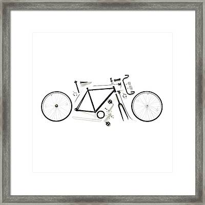 Components Of A Road Bike Framed Print by Science Photo Library