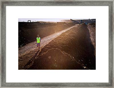 Compost Produced From Food Waste Framed Print by Peter Menzel