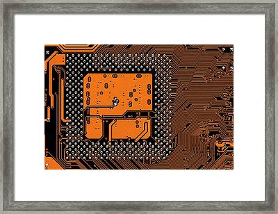 Computer Motherboard Framed Print by Antonio Romero