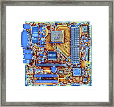 Computer Motherboard, Coloured X-ray Framed Print by Alfred Pasieka