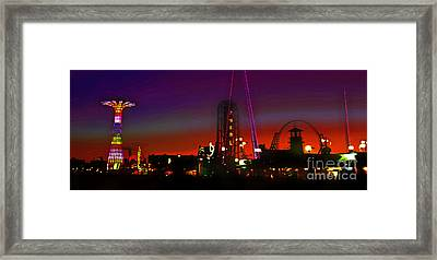 Coney Island Amusement Park And Parachute Jump Framed Print