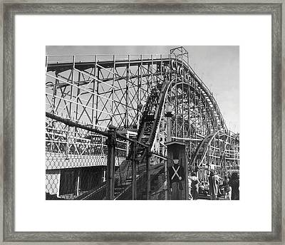 Coney Island - Cyclone Roller Coaster Framed Print by MMG Archives