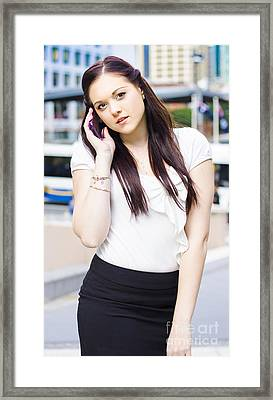 Confident Business Communication Woman Framed Print by Jorgo Photography - Wall Art Gallery