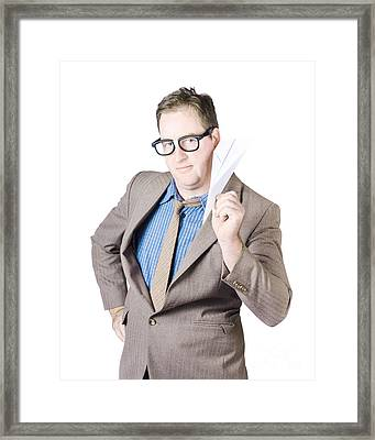 Confident Businessman Holding Paper Airplane Framed Print by Jorgo Photography - Wall Art Gallery