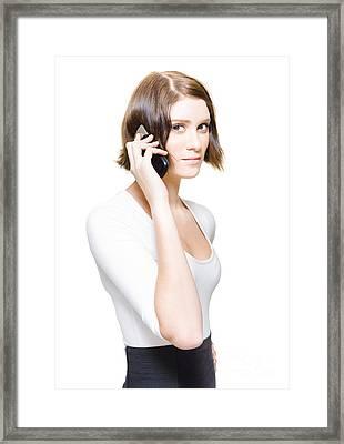 Confident Sales Representative Selling Business Deals Framed Print