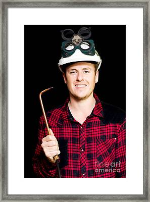 Confident Smiling Panel Beater With Welder  Framed Print