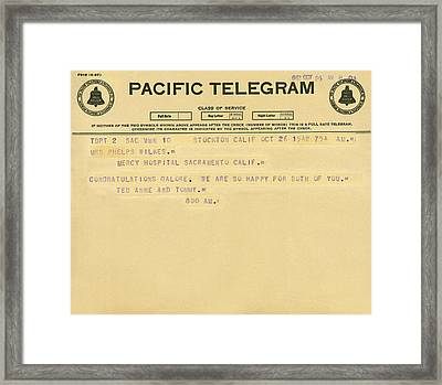 Congratulatory Telegram Framed Print by Underwood Archives