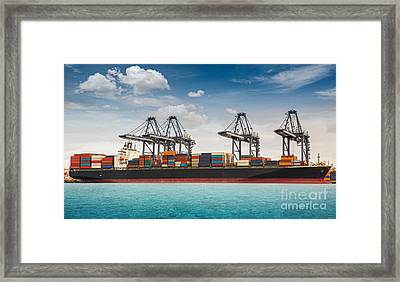 Container Ship Berthing Port Framed Print