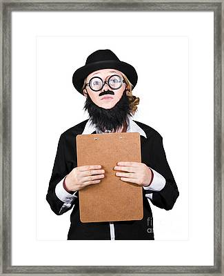 Contemplated Disguised Woman Holding Clipboard Framed Print by Jorgo Photography - Wall Art Gallery