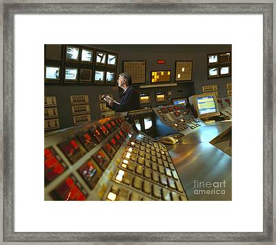 Control Room In A Float Glass Factory Framed Print by David Parker