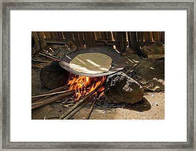 Cooking Bread From The Fruitless Banana Framed Print by Photostock-israel