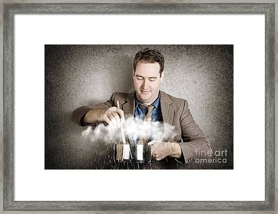 Cooking Up A Storm. Creative Business Concept Framed Print